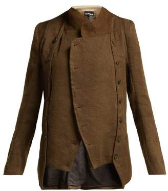 Ann Demeulemeester Cropped Linen And Wool Blend Jacket - Womens - Dark Brown