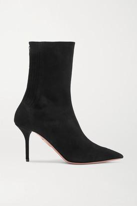 Aquazzura Saint Honore Suede Sock Boots - Black