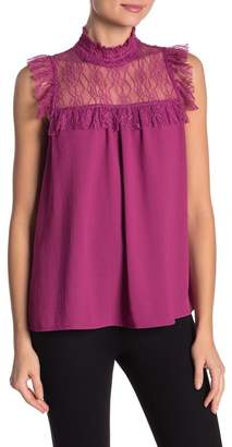 Hazel Sleeveless Lace Yoke Blouse
