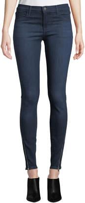 J Brand 620 Mid-Rise Ankle Skinny Jeans w/ Zipper Cuffs