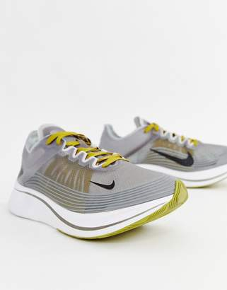 Nike Running Zoom fly sp sneakers in grey aj9282-003