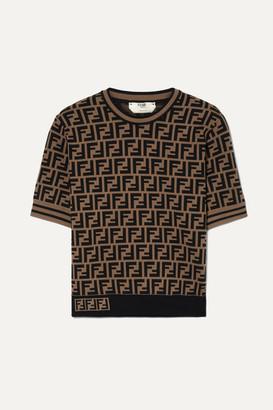 Fendi Jacquard-knit Sweater - Brown