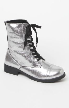 NYLA Shoe Metallie Combat Boots $50 thestylecure.com