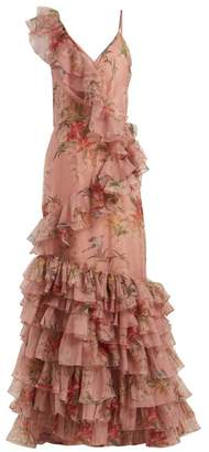 Johanna Ortiz The Place Of Silent Floral Print Silk Gown - Womens - Dark Pink