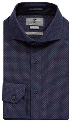 Black Brown 1826 Non-Iron Slim Fit Dotted Dress Shirt