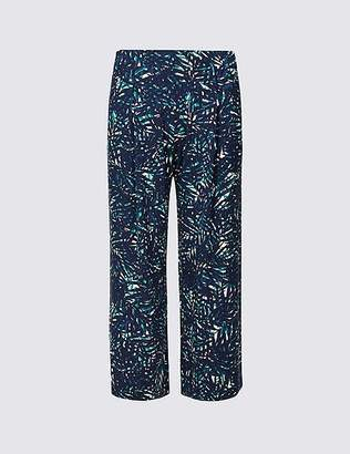 Marks and Spencer Leaf Print Jersey Wide Leg Cropped Trousers