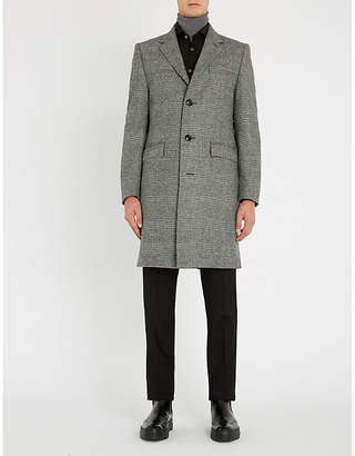 Crombie Prince of Wales checked wool coat