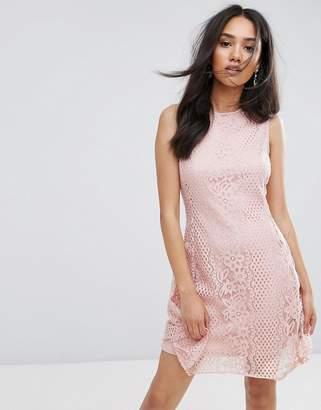 AX Paris Pink Lace Detail Skater Dress
