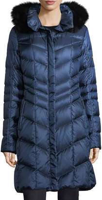 Bogner Fire & Ice Bogner Delia Shiny Hooded Quilted Puffer Coat w/ Fox Fur