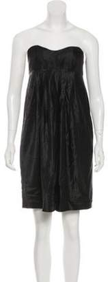 Derek Lam Satin Knee-Length Dress Black Satin Knee-Length Dress