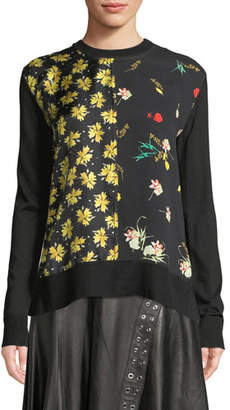 Derek Lam Crewneck Long-Sleeve Mixed-Print Silk-Cotton Pullover Sweater