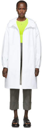 Helmut Lang White Recycled Hooded Rain Coat