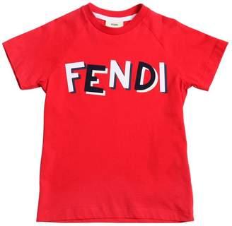 Fendi Shadow Logo Patch Cotton Jersey T-Shirt