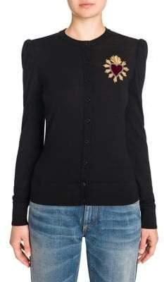 Dolce & Gabbana Wool Heart Applique Cardigan