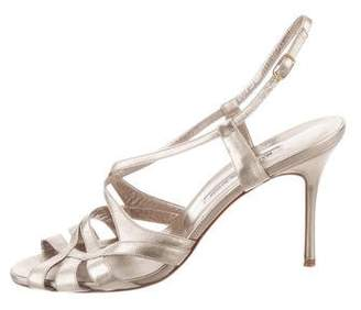 Manolo Blahnik Leather Multi Strap Sandals