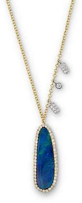 Meira T 14K Yellow Gold Oval Blue Opal Necklace with Diamonds, 16""