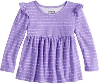 Osh Kosh Baby Girl Jumping Beans Long Sleeve Flutter Sleeve Printed Babydoll Top