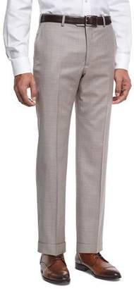 Armani Collezioni Wool Textured Trousers, Light Tan (Brown)