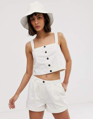 Weekday button detail two-piece crop top in off white