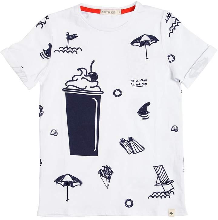 T-Shirt Aus Baumwolljersey Mit Stranddruck