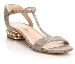 Nicholas Kirkwood Casati Pearly Heel Lurex T-Strap Sandals