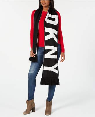 DKNY Bold Logo Fringe Scarf