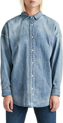 Hudson The Button Up Raw-Edge Chambray Shirt