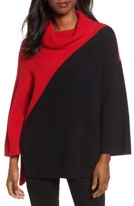 Chaus Colorblock Cowl Neck Sweater