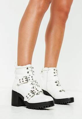 Missguided White Vinyl Chunky Sole Double Strap Biker Boots