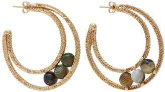 Rosantica By Michela Panero - Scarabeo Stone Hoop Earrings - Womens - Green