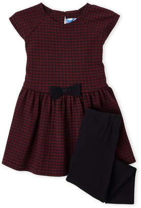 Kapital K (Toddler Girls) Two-Piece Crimson Houndstooth Fit & Flare Dress & Leggings Set