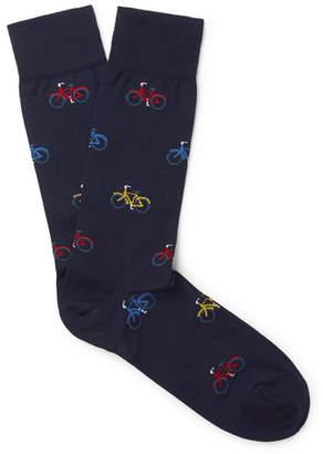 Marcoliani - Intarsia Pima Cotton-Blend Socks - Men - Navy