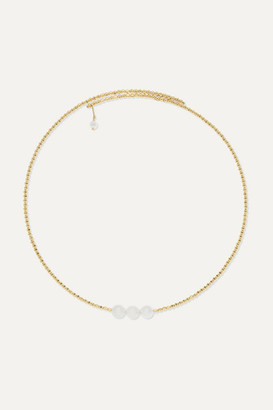 Mizuki 14-karat Gold Pearl Choker