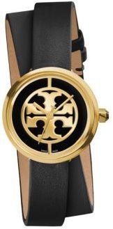 Tory BurchTory Burch Reva Goldtone Stainless Steel & Leather Double-Wrap Strap Watch/Black