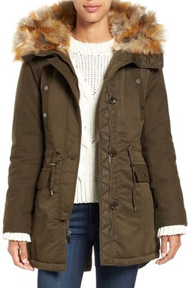 Women's French Connection Hooded Parka With Faux Fur Trim $228 thestylecure.com