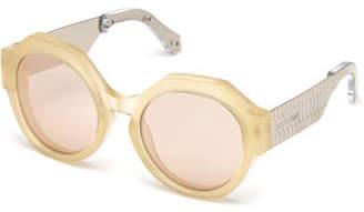 Roberto Cavalli Thick Round Mirrored Sunglasses