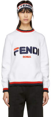 Fendi White Mania Crewneck Sweater