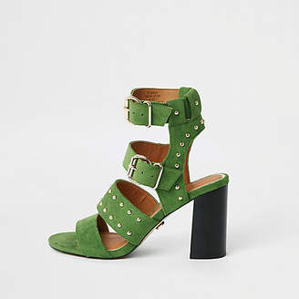 River Island Green wide fit suede stud block heel sandals