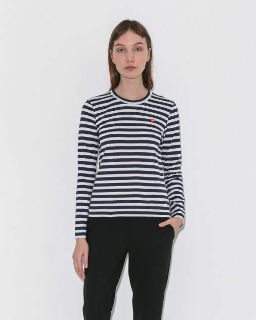 Comme Des Garçons Play Play Striped Long Sleeve Tee