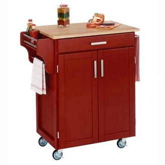 Home Styles Cuisine Cart, Black with Cherry Top