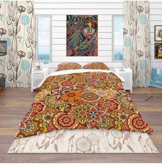 Design Art Designart 'Pattern Tile With Mandalas' Bohemian and Eclectic Duvet Cover Set - Queen Bedding