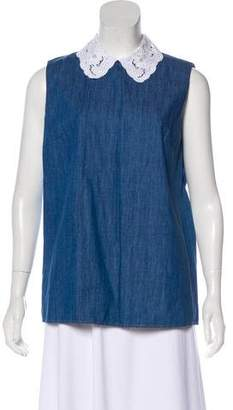 Miu Miu Sleeveless Denim Top
