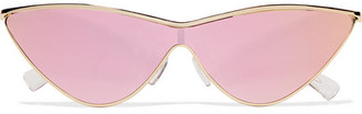 Le Specs - Adam Selman The Fugitive Cat-eye Gold-tone Mirrored Sunglasses $120 thestylecure.com