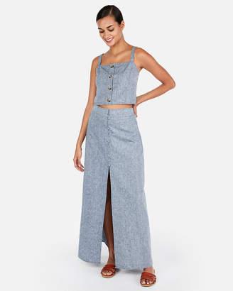 Express Linen-Blend Button Front Maxi Skirt