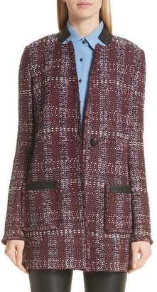 St. John Flecked Textures Plaid Knit Jacket