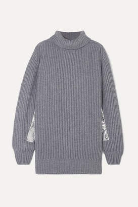 Hillier Bartley Metallic-trimmed Ribbed Cashmere Turtleneck Sweater - Gray