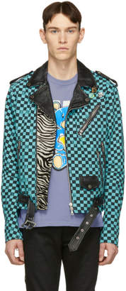 Amiri Blue and Black Artist Checkered Biker Jacket