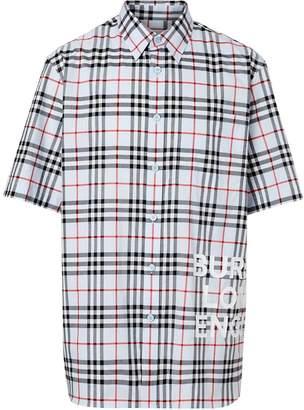 bfacb9737230 Burberry Short-sleeve Vintage Check Cotton Oversized Shirt