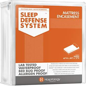 HOSPITOLOGY PRODUCTS Sleep Defense System - Waterproof/Bed Bug/Dust Mites - PREMIUM Zippered Mattress Encasement & Hypoallergenic Protector - 60-Inch 80-Inch