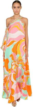 Emilio Pucci Long Printed Silk Twill Dress